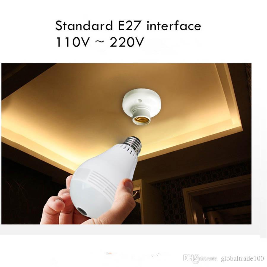 E27 لمبة ضوء كاميرا IP لاسلكية واي فاي فيش 960P 360 درجة البسيطة CCTV بانورامي كاميرا 1.3MP / 2.0MP الأمن الرئيسية نظام V380