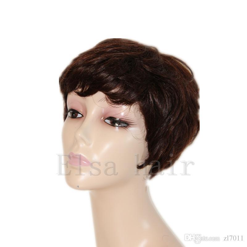 Yeni Pixie Kesim Kısa Peruk Perruque Cheveux İnsan Yok Dantel Peruk Yüksek Yoğunluklu Kısa İnsan Saç Dantel Peruk ile Bang Ucuz Peruk