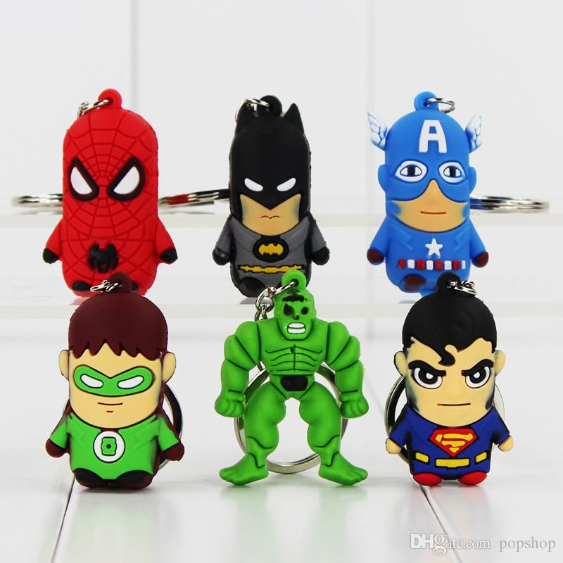 The Avengers 3D PVC Marvel Superman Spiderman Green Hulk Keychain Pendant Figure Toy