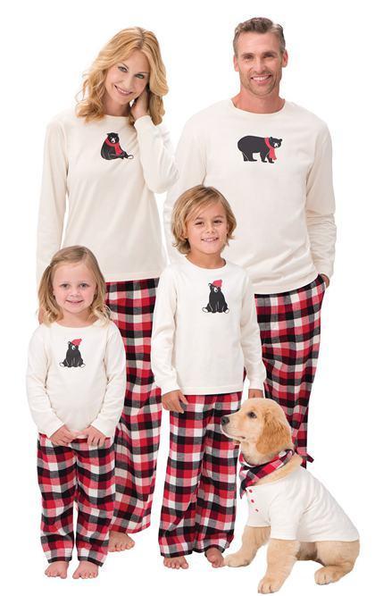 2017 christmas matching family outfits kids pijama sets adult pyjamas sleepwear baby bear plaid pajamas women men pjs suit nightwear clothes girls pjs sale - Christmas Pajamas Women