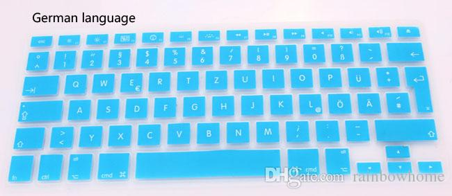 German Russian French Arabic Spanish waterproof Keyboard Cover Clear Silicone Rubber For Macbook Pro Air 13 15 17 inch US EU Version