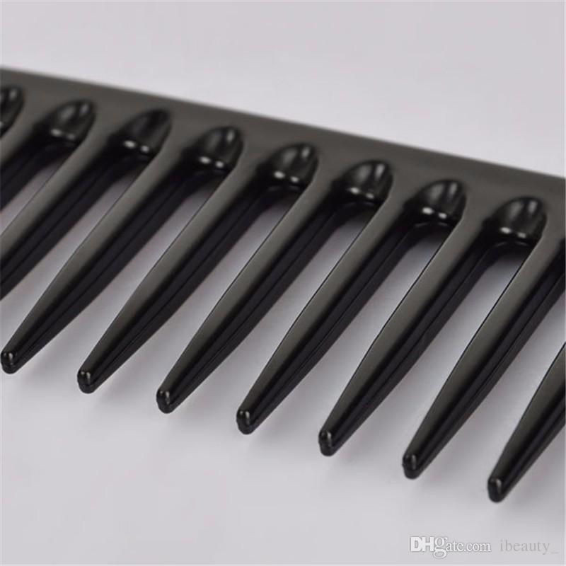 19 Zähne schwarz Qualität ABS Plastik Hitzbeständige Große breiter Zahnkamm Detangling Breite Zähne Frisierkamm