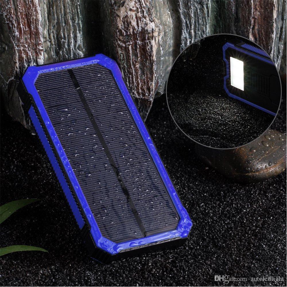 Cargador de lámparas solares, cargador de batería de 15000mAh portátiles Dual USB Cargadores de teléfono Banco de energía Backup con 6 linterna LED