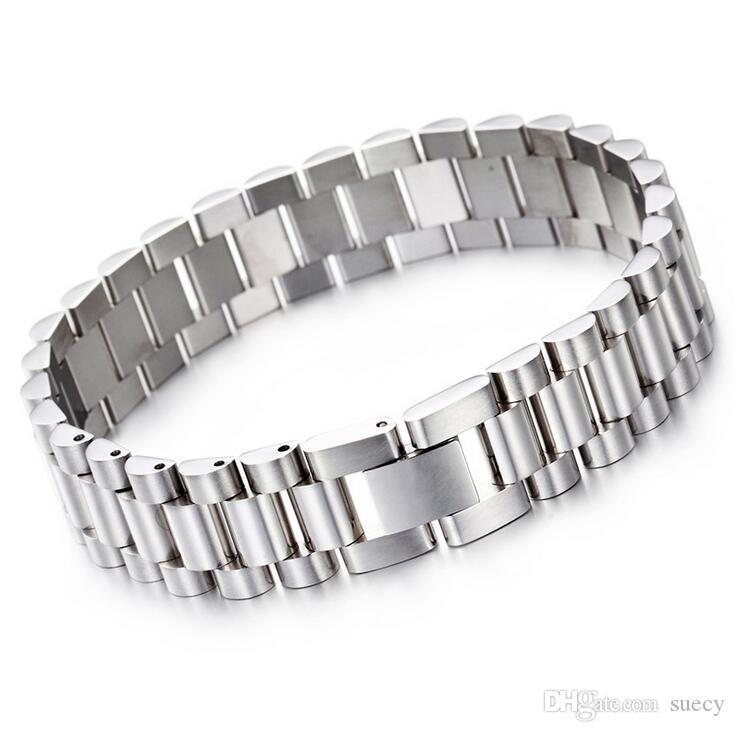 Hot Mode 15mm Mens de luxe Mens de montre Bracelet Bracelet HiPhop Gold Argent En Acier Inoxydable Sangle Banglange Bangles Bijoux