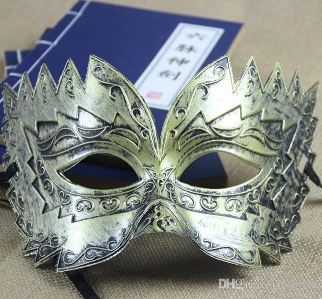 Chegada nova Bronze Sawtooth Homens Retro Halloween Party Meia Face Homens Máscara PH034 misturar a ordem como suas necessidades