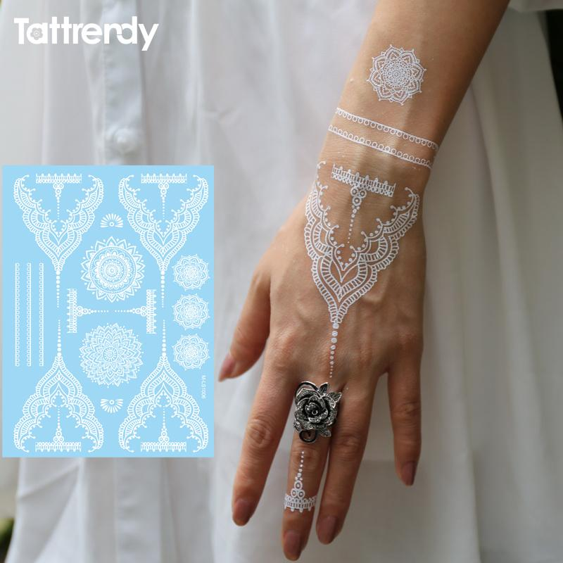 99d8ed251 Wholesale Trendy Fake Tattoos Henna White Flash Tattoo Temporary Stickers  Waterproof Arabic Indian Wedding Lace Hand Summer Style S1006 Temporary  Tattoo ...