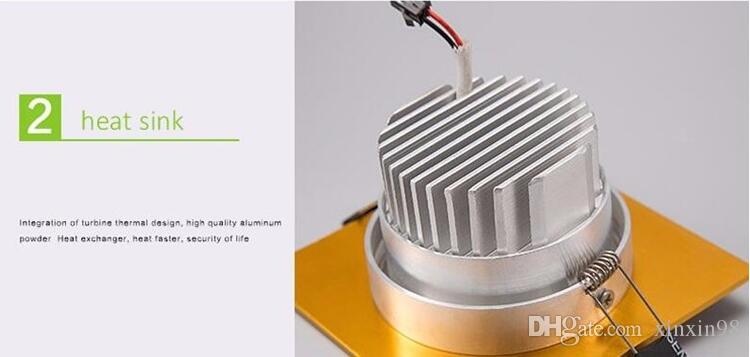 Dimmerabile quadrato 10W Gold Shell COB Led da incasso Downlights dimmerabile faretto a LED lampada spotlight AC90-240V caldo / freddo bianco + Led Driver