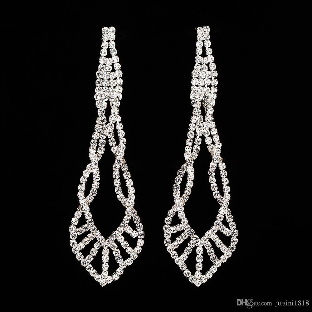 YFJEWE mousseux cristal Boucles d'oreilles Soirée de mariée longue Dangle Chandelier Boucles d'oreilles Bijoux E402