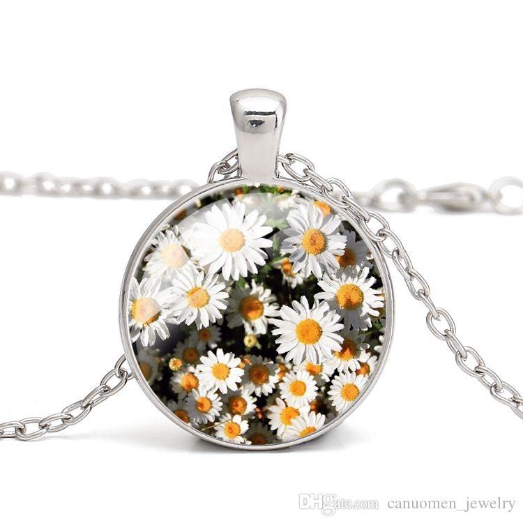 Papatya Kolye Kolye Güzel Çiçek Kız Arkadaşı için Kristal Cam Cabochon Sadık Aşk Hediye Kadınlar Takı Gümüş Antik bronz Kaplama