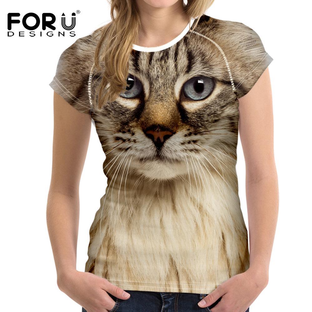 Wholesale Forudesigns Black Cat Printing Women T Shirt 3d Cat Dog