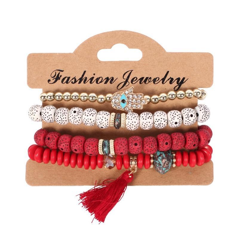 Bracelet Bangles for Women Jewelry 2018 Fashion Vintage Ethnic multilayer punk big beads Charm Bracelets Boho Statement Flower