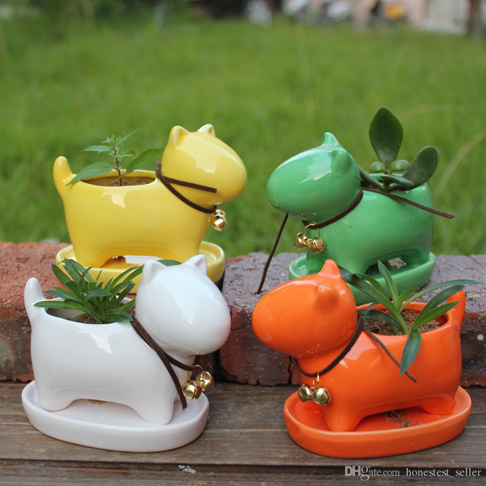 2018 Ceramic Little Dog Succulent Plant Flower Pot Garden Pottery