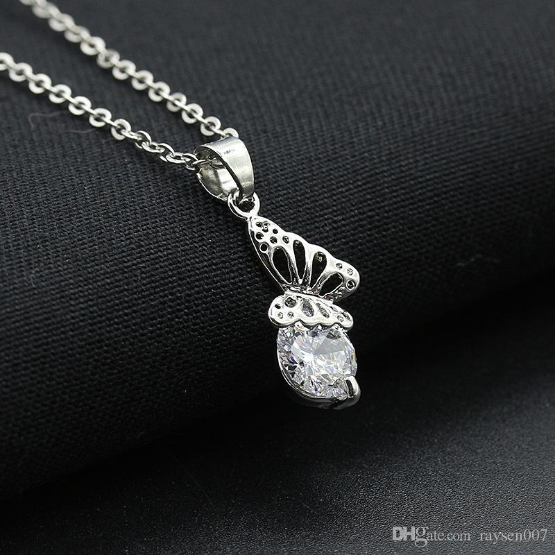 Korean silver diamond necklaces pendant for girls snow flower crown crystal necklace jewelry heart butterfly ring shape charm necklace chain