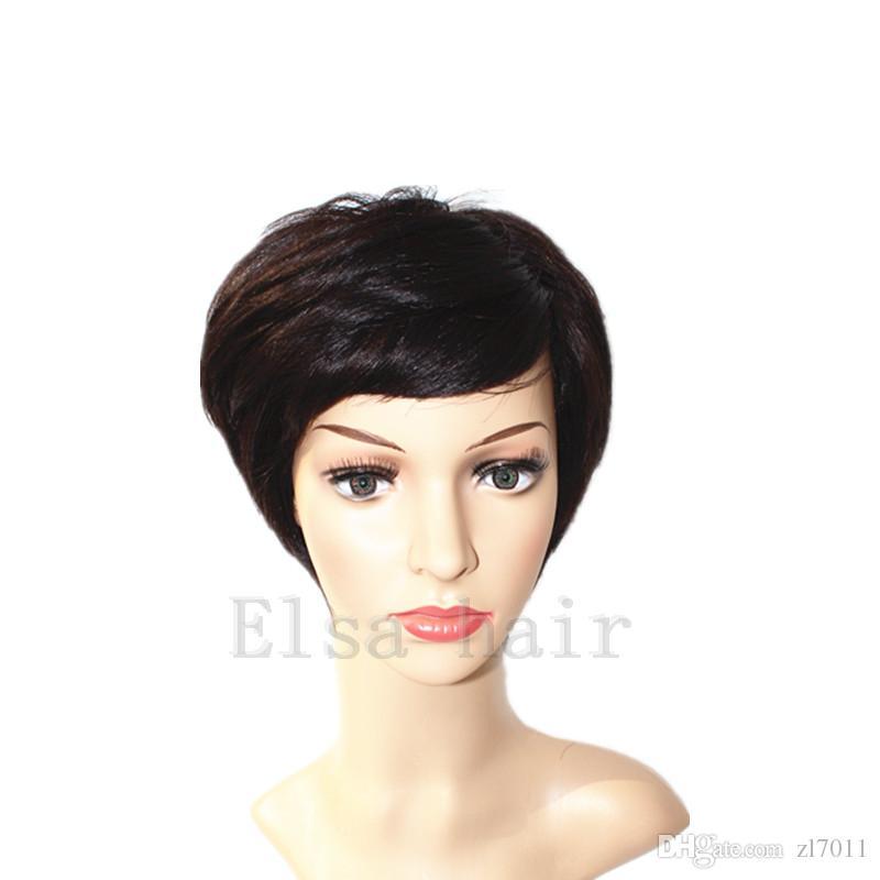 2017 Afro-Américains Meilleurs perruques de cheveux humains brésiliens Pixie Cut courtes perruques sans colle pour cheveux humains pour les femmes noires