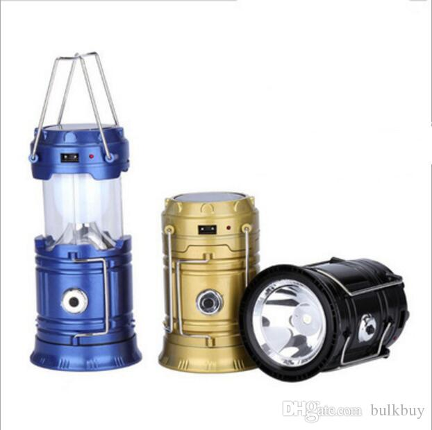 Dış Aydınlatma SH-5800T Taşınabilir Led Fener Güneş Kamp Fener 6LEDs Şarj edilebilir Acil El Lambası Çadır Işık Katlanır