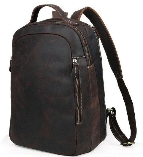Top end Leather Backpack Men vintage personal traveling Lugguage First layer crazy horse leather double shoulde belt factory prices