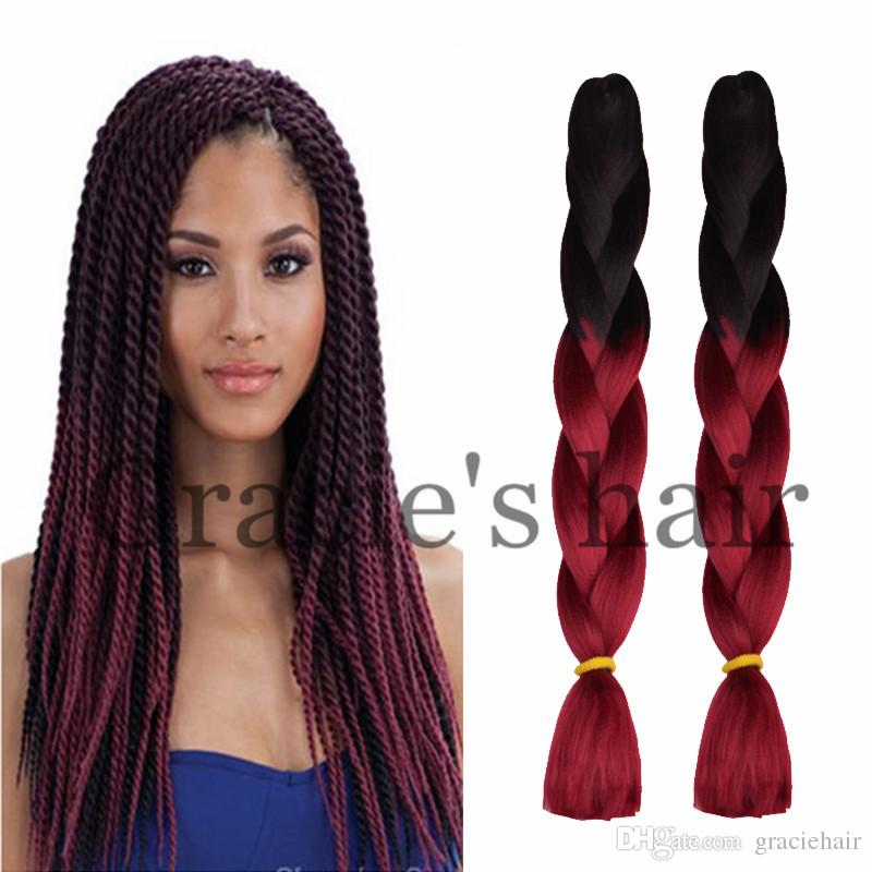 24inch ombre braid crochet box braids hair synthetic