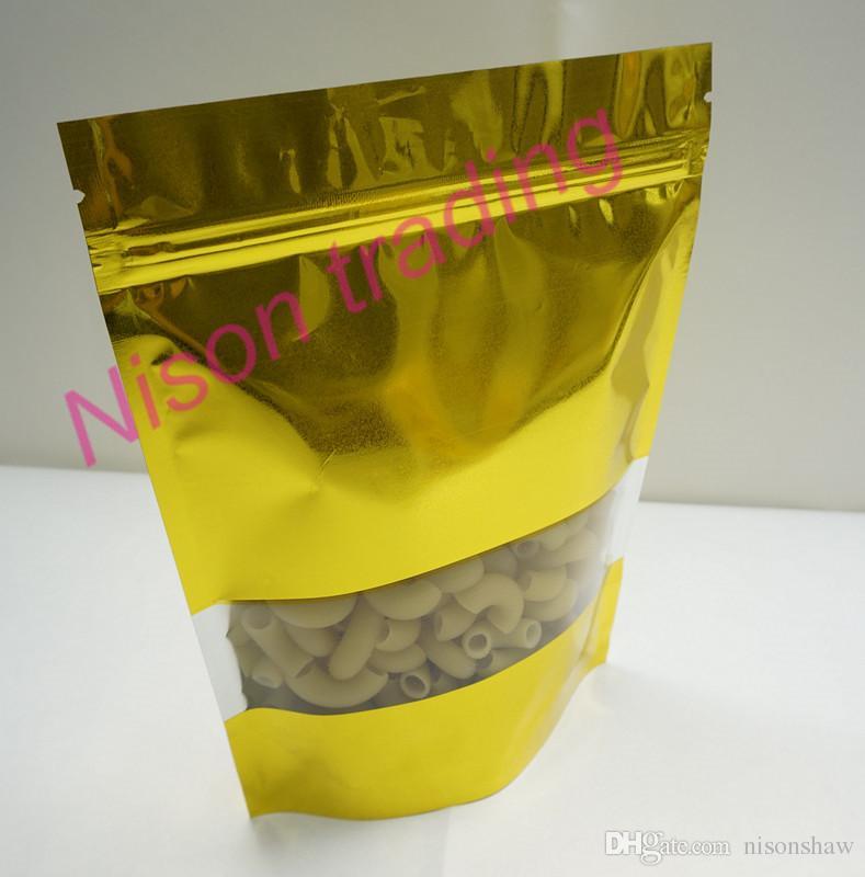 16 * 24cm, a / lotto X oro Stand up in alluminio con chiusura a zip con sacchetto trasparente finestra-antipolvere maccheroni / sacchetto in plastica alimenti, sacco richiudibile
