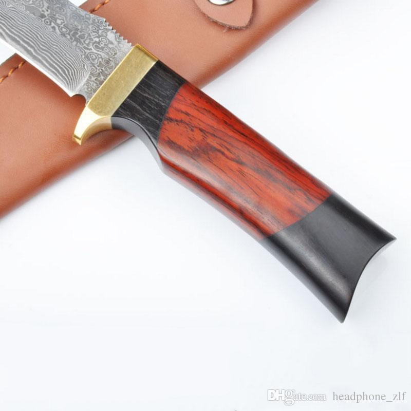 Top quality Damascus Steel Fixed blade hunting knife 60HRC Ebony handle Outdoor survival straight knife with Genuine leather sheath