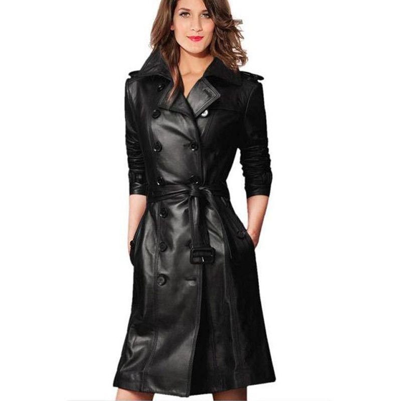 purchase cheap fccaa 1c8e6 Giacca di pelle lunga di vendita calda 2016 donna doppio petto con cintura  in pelle stile europeo giacca di pelle sintetica nuovo arrivo GQ1261