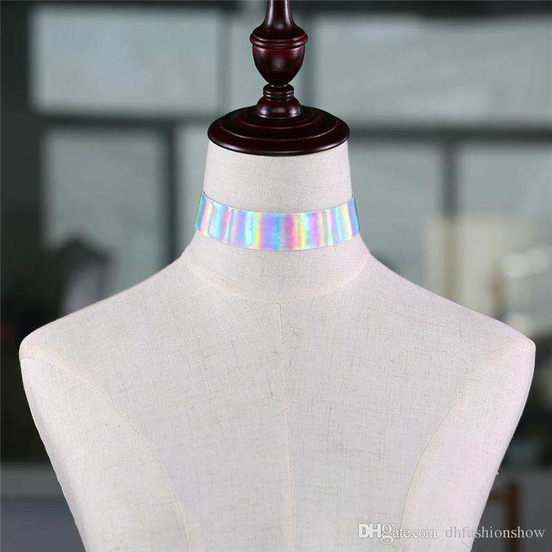 2017 novo designer Colar do arco-íris A luz do laser mulheres Goth Punk gargantilhas holográficas Colar gótico moda Harajuku jóias boêmio