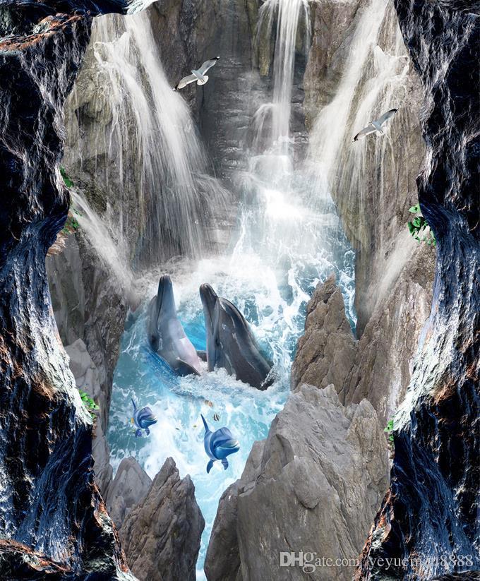 3d stereoscopic floor wallpaper Custom 3d floor photo wallpaper murals Waterfall sea living room wallpaper 3d floor murals