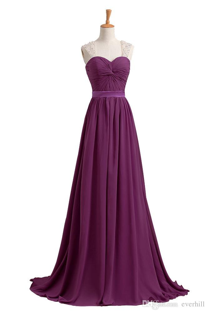 44d27350c4d Elegant Purple Chiffon Bridesmaid Dresses Bruidsmeisjes Jurk Women Beaded Long  Dresses Wedding Party Prom Gowns Robes Demoiselles D Honneur Bridesmaid ...