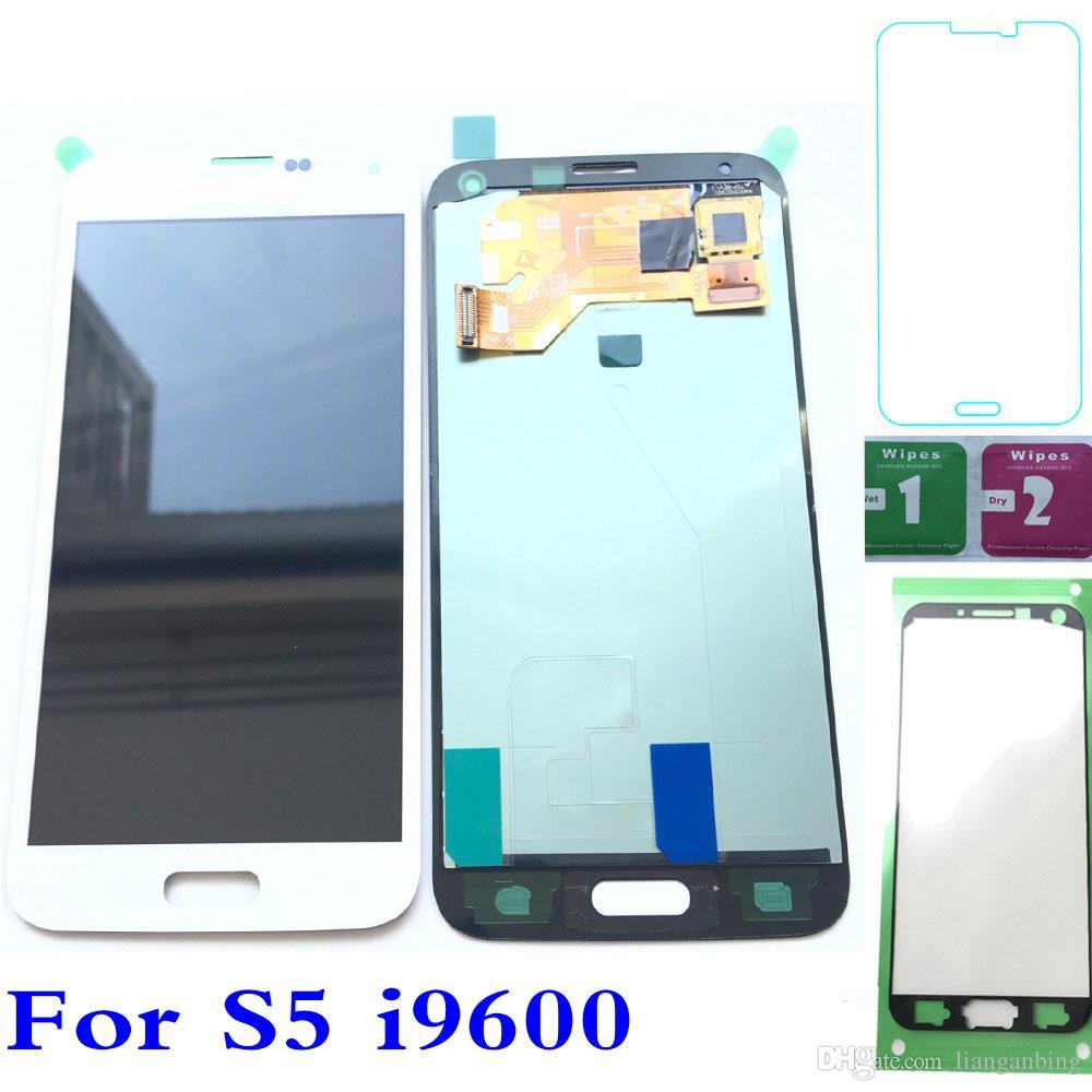 Pantalla LCD táctil digitalizador para Samsung Galaxy S5 i9600 G900T G900F G900H G900M Brillo ajustado Negro Blanco logística DHL