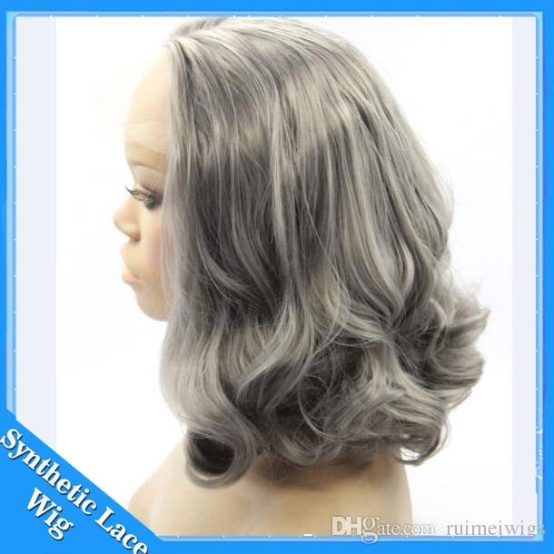Short bob Peluca delantera de encaje sintético gris Fibra de plata resistente al calor peluca de la onda del cuerpo pelucas de pelo sintético sin cola gris de alta calidad