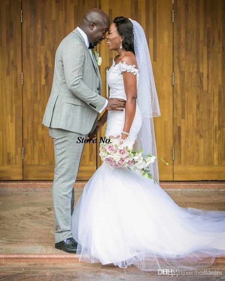2017 나이지리아 아프리카 인어 웨딩 드레스 숄더 레이스 Appique 백리스 채플 트라 이어 웨딩 웨딩 드레스