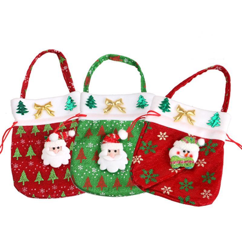 Sacs De Bonbons De Noël Ornements Paillettes Embellies Non Tissé Sac De Noël Tissus Cadeaux De Fête Pour Enfants Sac De Bonbons Cadeau De Noël
