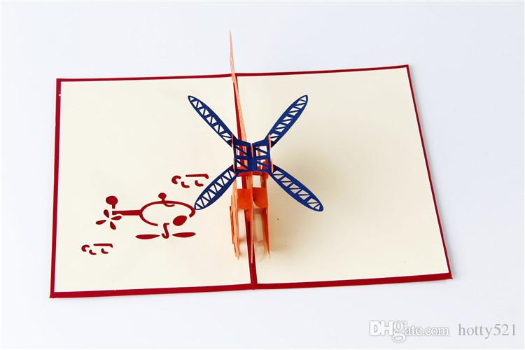 New 3D Pop Up Greeting Cards Helicopter Happy Birthday Thank You Christmas Greeting Cards