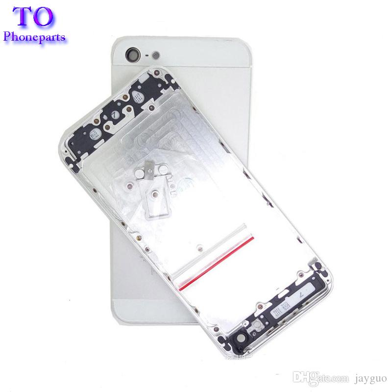 Real Housing Back Battery Cover For iPhone 5 5G 5S Housing Middle Frame Metal Battery Back Case+Small Parts Tracking