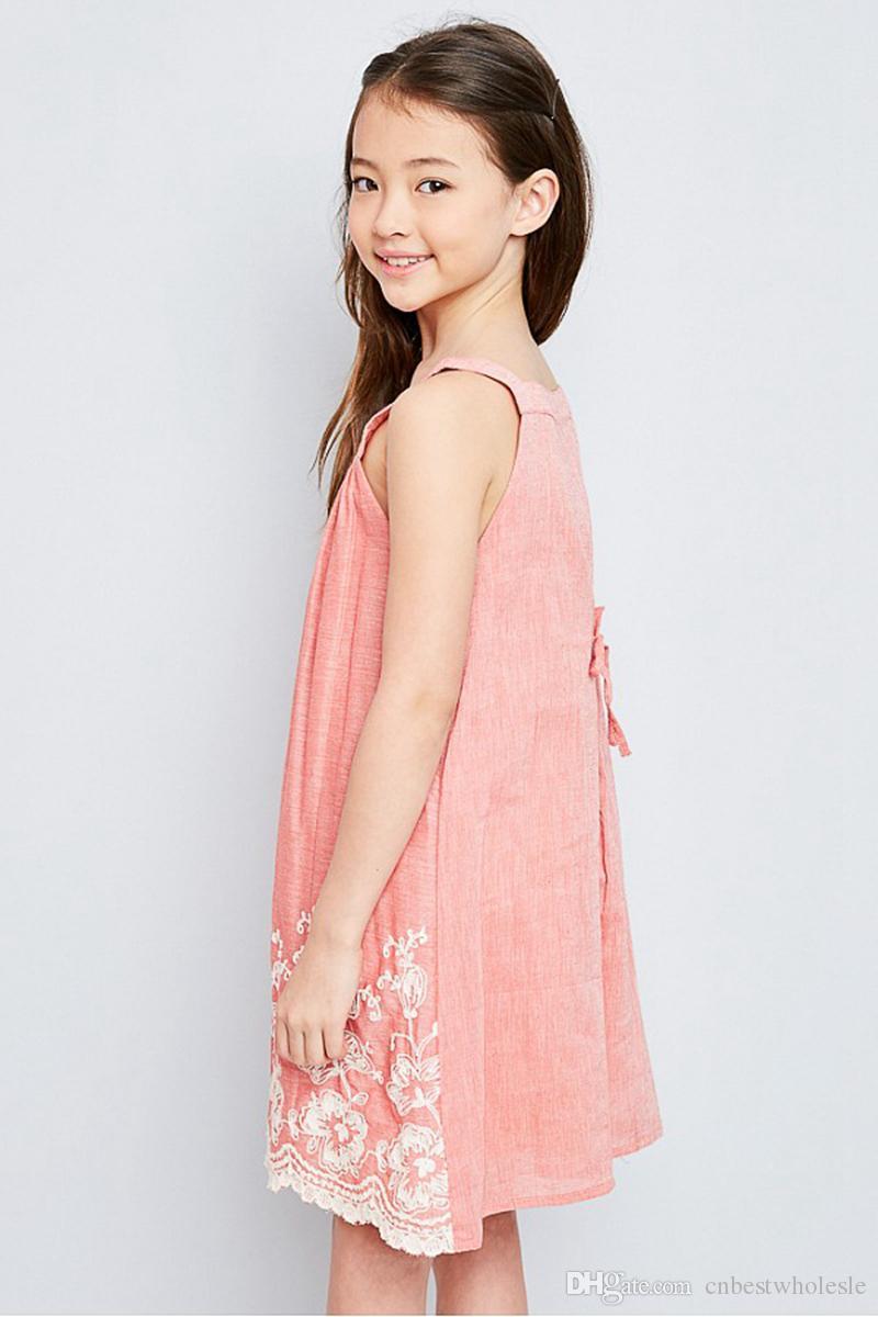 Compre Adolescente Bordado Vestidos Florales Vestido De Encaje De La ...