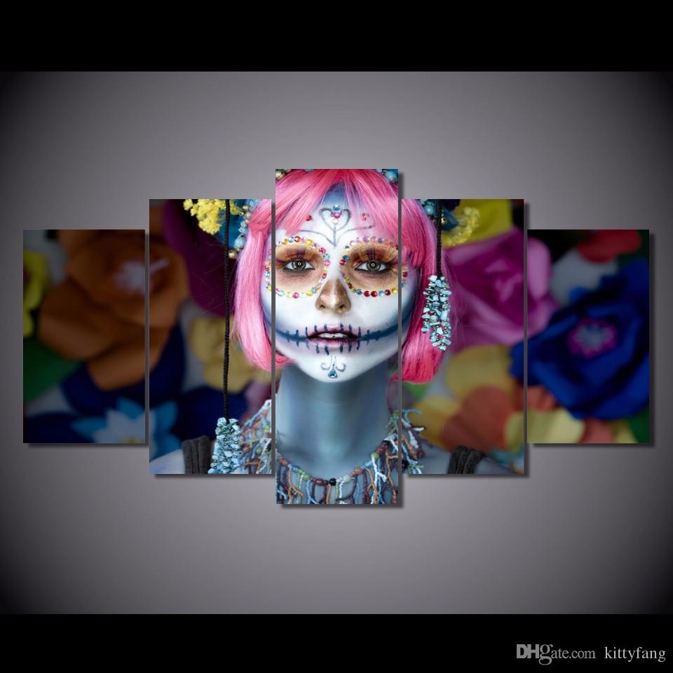 Framed HD Printed Day of the Dead Face Picture Wall Art Canvas Room Decor Poster Canvas Modern Oil Painting