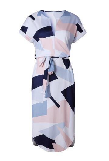 New hot, sexy V collar, square print, long dress, white size S-XL wholesale and retail, welcome to order