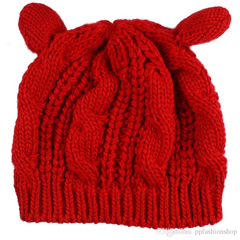 2017 nuevas boinas de lana de otoño e invierno de alta calidad, sombrero de lana quemada orejas de gato, sombrero de punto cálido