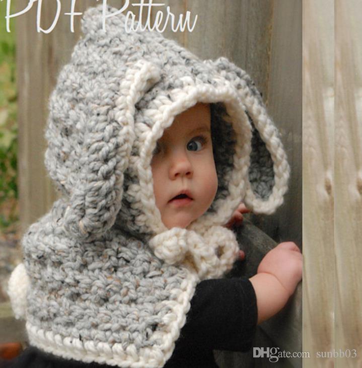 Neue Herbst Winter Baby Kinder Cartoon Bunny Hut Schal Wraps Einteilige Jungen Mädchen Strickmütze Mützen Handgemachte Schal Halstuch Kinder Hüte