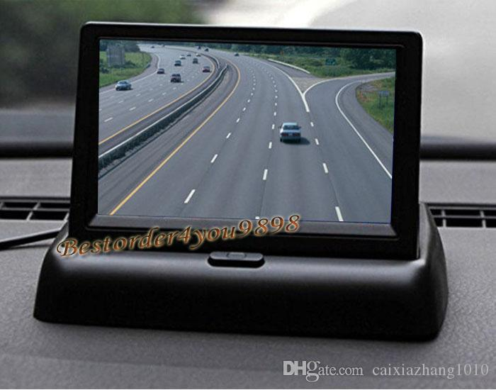 """4.3"""" TFT LCD Foldable Colour Car Rear View Monitor Kit DVD VCR For Backup Parking Reverse Camera"""