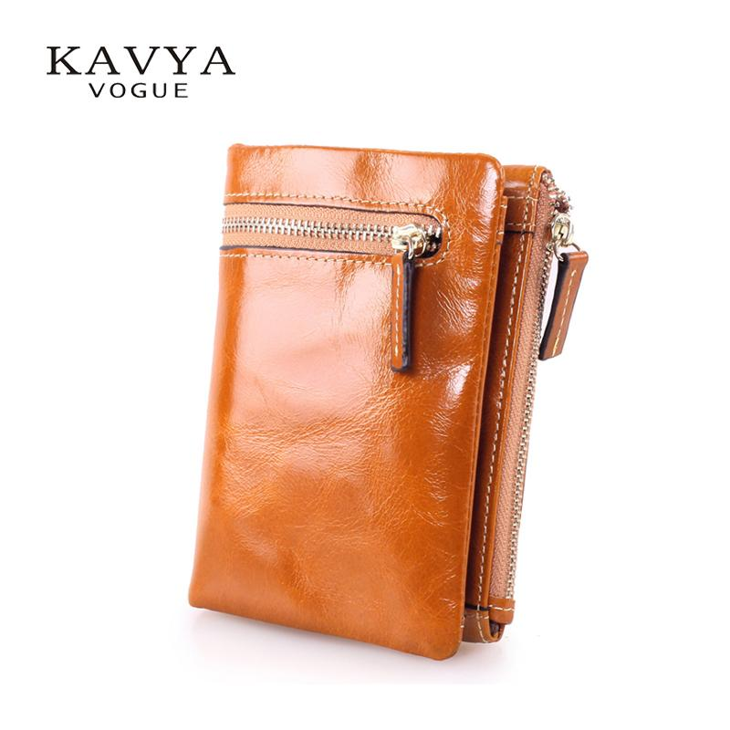5e8e8f6c9e Wholesale- KAVYA New vintage cowhide genuine leather wallet female short  design zipper wallet coin purse men and women Free shipping