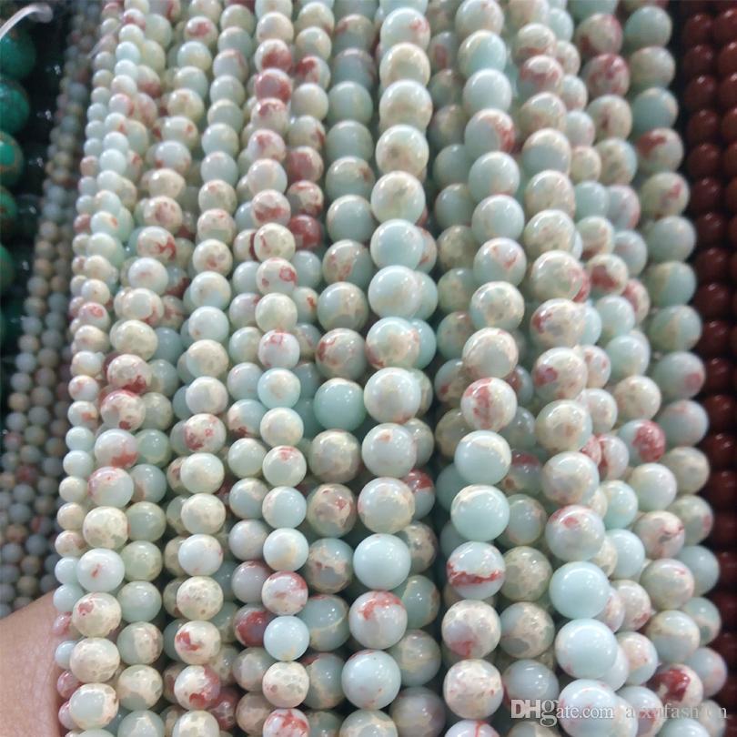 الأزرق والأخضر الطبيعي البحر الرواسب يشب ستون الخرز سوار صنع المجوهرات الخرز الامبراطوري يشب الخرزة الإمدادات 4 6 8 10 ملليمتر الإمبراطور ستون