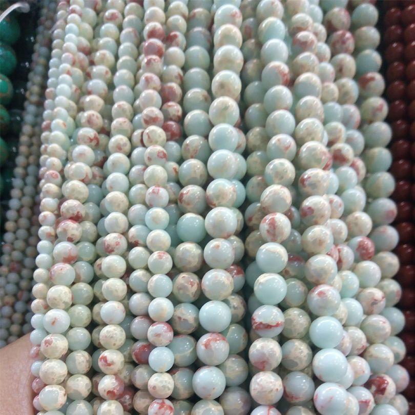Natural Blue Blue Sea Sediment Jasper Stone Beads Bracelet Creazione di gioielli Beads Imperial Jasper Bead Supplies 4 6 8 10mm Emperor Stone