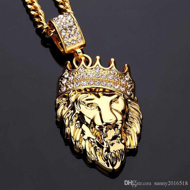 Cool Fashion Hip Hop Shiny Diamond Crystal Crown Lion Head Pendant Necklace Mens 14K Gold Plated Long Chain Necklace Party Gifts