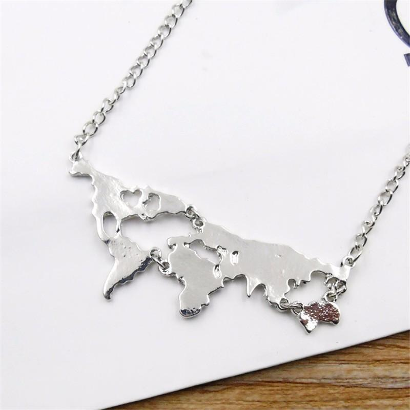 Wholesale fashion color metal world map shape pendant chain necklace wholesale fashion color metal world map shape pendant chain necklace women men lover necklace jewelry gift jewelry silver pendants from channe gumiabroncs Choice Image