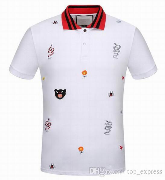 Top Express Leopard/Tiger/Snake/Bee/Flowers/Crown Print Men Polo Shirts New Brand Casual Cotton Italy Fashion Women Polos Summer