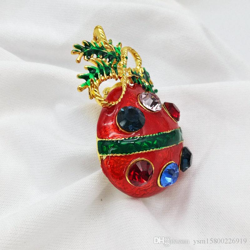 5 قطع سلسلة السنة الجديدة المعادن قطرة الشريط الحفر عيد الميلاد إناء ثنائي الغرض بروش 44 * 30 ملليمتر المجوهرات هدية عيد الميلاد الديكور بروش