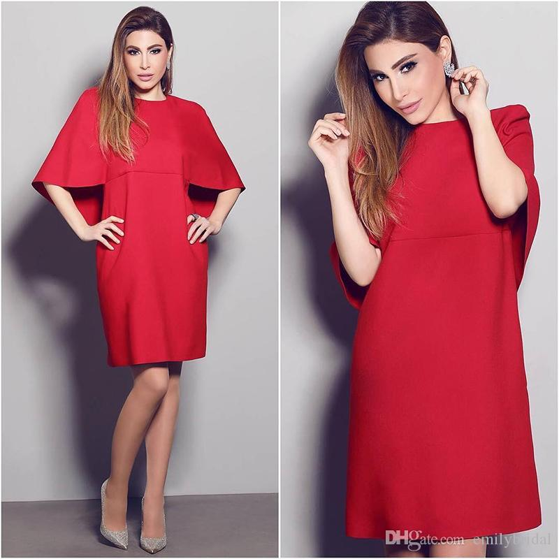 Short Plus Size Arabic Cocktail Dress Loose Straight Red Prom Dress