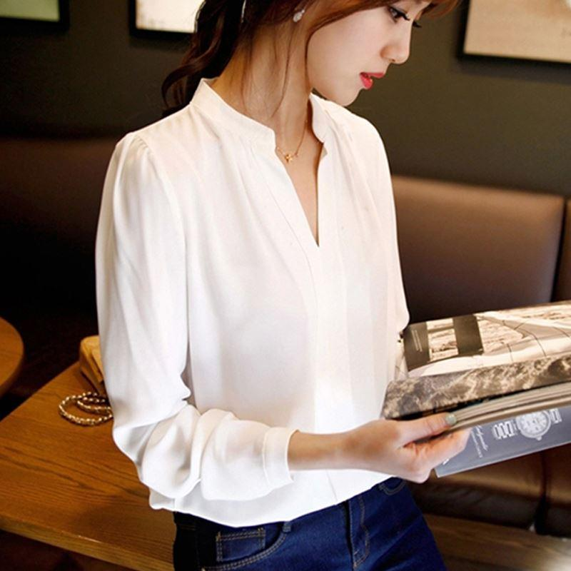 2017 summer womens chiffon blouse ladies White elegant sexy v-neck blouses long sleeve shirt female office shirt plus size