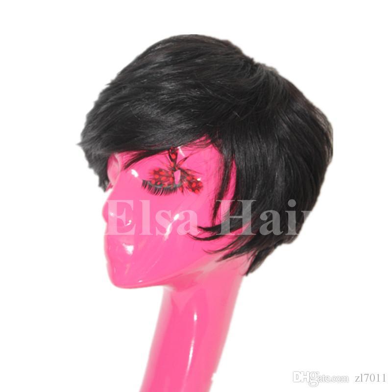 Curto corte nenhum laço humano bob perucas melhor humano brasileiro barato peruca com o cabelo do bebê glueless perucas com franja para as mulheres negras