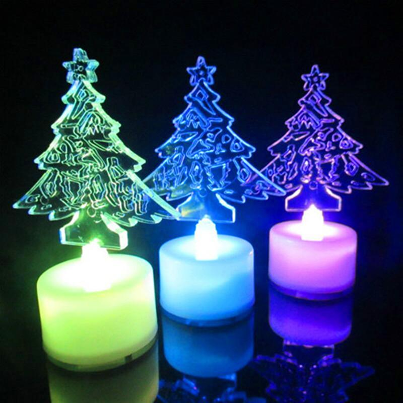 acrylic santa claus christmas tree discus a night light christmas gifts electronic candles luminous toy christmas decorating christmas decorating home from - Christmas Tree Night Light